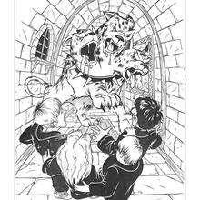 Desenho do Harry Potter com o gigante cão de três cabeças para colorir