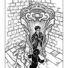 Desenho do Harry Potter com o espelho para colorir