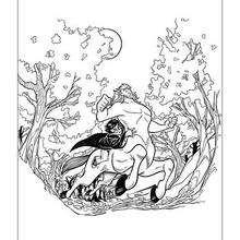 Desenho do Harry Potter montando um centauro para colorir