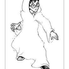Desenho do Harry Potter com sua capa invisível para colorir