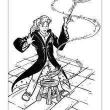 Desenho da Hermione com sua varinha mágica para colorir