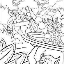Desenho de macaquinhos com frutas para colorir