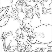 Desenho dos animais felizes na floresta para colorir
