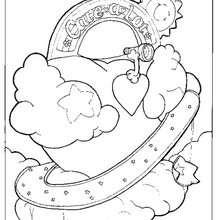 Desenho do coração da Nuvem Rosa para colorir