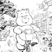 Desenho do Ursinho Do Meu Coração andando de bicicleta para colorir
