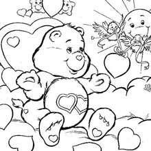 Desenho de um Ursinho carinhoso com passarinhos para colorir