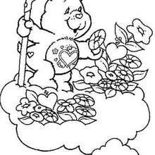 Desenho do Ursinho Do Meu Coração com flores para colorir