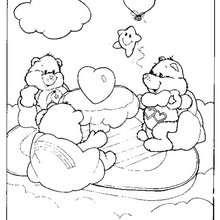 Desenho dos Ursinhos Carinhosos com corações para colorir