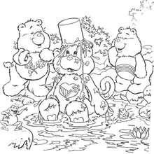 Desenho dos Ursinhos Carinhosos tomando banho para colorir
