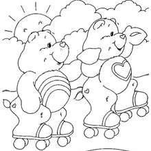 Desenho dos Ursinhos Carinhosos andando de patins para colorir
