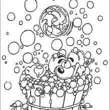 Diddl tomando banho para colorir