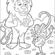 Desenho do macaco Botas fazendo acrobacias para colorir