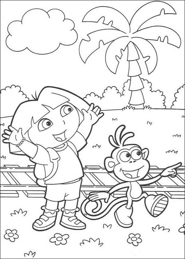 Desenho do macaco Botas com a Dora para colorir