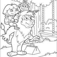 Desenho da Dora no balanço para colorir