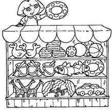 Desenho da Dora na lojinha da praia para colorir