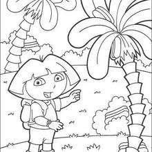Desenho da Dora com palmeiras para colorir