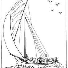 Desenho de um barco egípcio para colorir