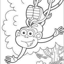Desenho do macaco Botas feliz para colorir