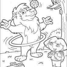 Desenho do Leão com a Dora para colorir