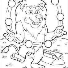 Desenho do Leão fazendo malabarismos para colorir