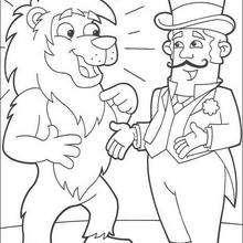 Desenho da Dora com o diretor do circo para colorir