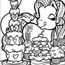 O Pônei e lindos bolos para colorir