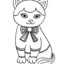 Desenho de um lindo gatinho Kawaii para colorir