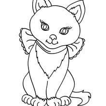 Desenho de uma gatinha para colorir