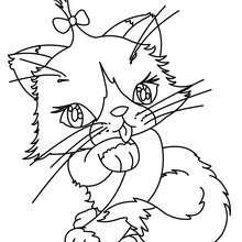 Desenho de um lindo gato Kawaii para colorir