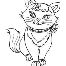 Desenho de um gato Kawaii adorável para colorir