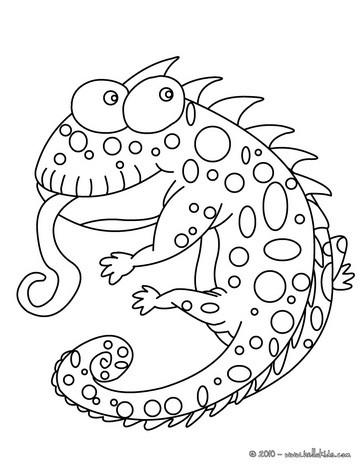 desenhos para colorir de desenho de um camaleão engraçado para