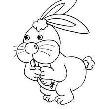 Desenho de um coelho comendo uma cenoura para colorir