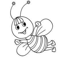 Desenho de uma abelha Kawaii para colorir