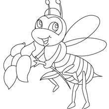 Desenho de uma abelha com uma flor para colorir