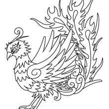 Desenho de uma Fênix para colorir