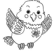 Desenho de um pássaro fofinho para colorir