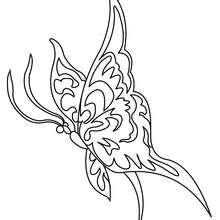 Desenho de uma Borboleta Kawaii para colorir