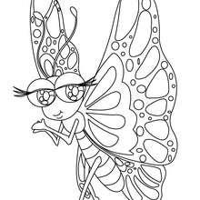 Desenho de uma Borboleta Kawaii para colorir online