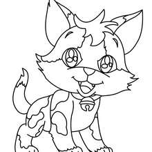 Desenho de um gatinho feliz para colorir