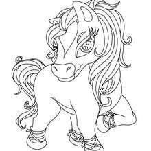 Desenho de um cavalo Kawaii para colorir