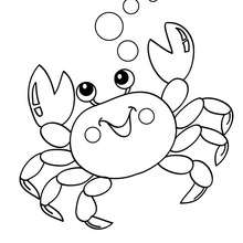 Desenho de um Caranguejo Kawaii para colorir