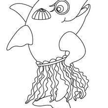 Desenho de um golfinho com uma saia para colorir