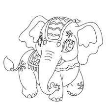 Desenho de um elefante Kawaii para colorir