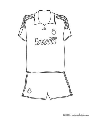 Desenho de uma camisa de futebol para colorir