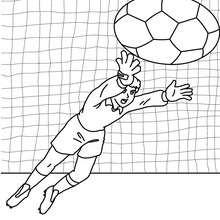 Desenho de um goleiro pulando para colorir