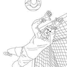 Desenho de um goleiro pulando para colorir online