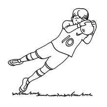 Desenho de um goleiro pegando a bola para colorir
