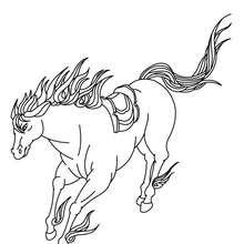 Desenho de um Cavalo selvagem correndo para colorir