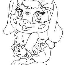Desenho de um coelho Kawaii para colorir