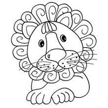 Desenho de um leão Kawaii para colorir